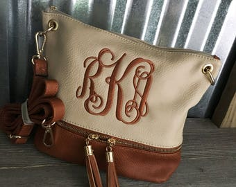 Crossbody Bag/CREAM and BROWN Two Tone Crossbody Bag with Monogram