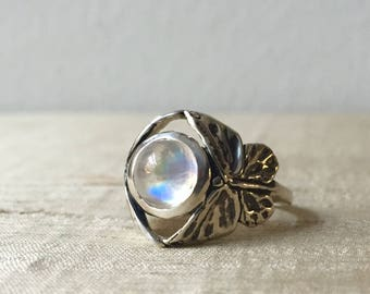 Rainbow Moonstone in Sterling Silver- The Butterfly duo Ring