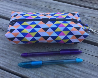 Pencil Case - Colorful Geometric - Neon Triangles - Makeup Bag - Here Comes the Fun - Art Gallery - Stocking Stuffer
