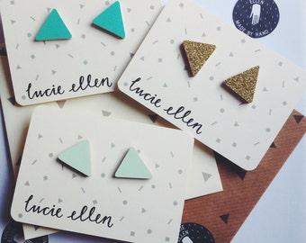 Stud Earrings Geometric Triangle - Choose Your Colours