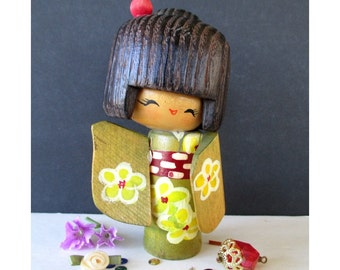 Wood Doll * Kokeshi Doll * Okappa Haircut * Japanese Art Doll * Asian Decor