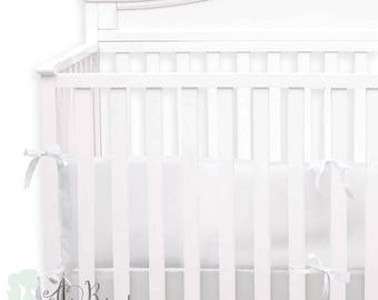 White Linen 2-in-1 Crib Bumper/Rail Cover | Convertible Gender Neutral Baby Bumper Set | White Linen Crib Bumper Set