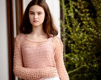 Milk pink short sleeved shrug,Transparent Top,   Loose waeve , Summer sweater,  Loose knit sweater,  Lightweight Grunge shrug, Ready to ship