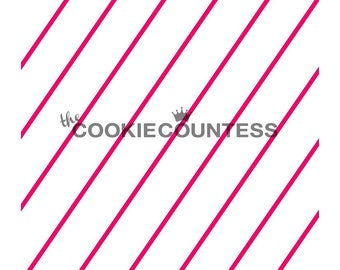 The Cookie Countess DIAGONAL THIN STRIPE Stencil