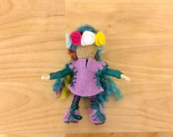 Rainbow Flower Princess Bendy Doll, Small Felt Fairy, Dollhouse Fairy, OOAK, Handmade, Waldorf fairy, Wee Folk, Woodland Fairy, Elf