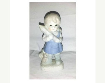 Vintage Girl Figurine,Porcelain Girl,Girl and her Cat,Kitsch,Blue and White Figurine,Eyelashes,Girl with Pencil,Collectibles,1950s