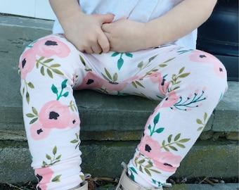 Baby Leggings | Floral Leggings | Baby Girl Leggings | Pink Baby Leggings | Baby Girl | Baby Clothes | Watercolor Floral, Leggings