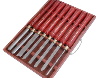 8PC HSS Lathe Carving Wood Turning Chisel Set, Woodworking Gouge & Parting Tools With Carry Case CT0056