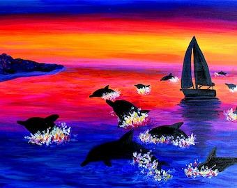 Original Hawaiian Happiness / Jumping Dolphin Sunset Seascape Painting