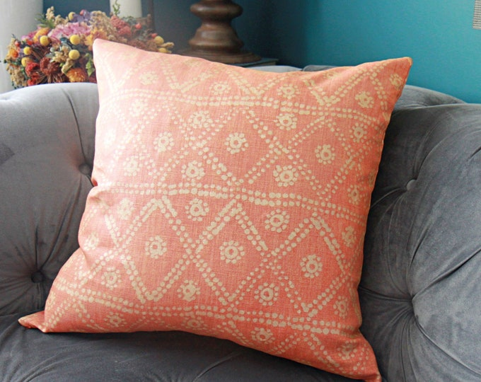 Carolina Irving Zig Zag in Coral Pillow Cover - Orange Coral Gold Pillow Cover
