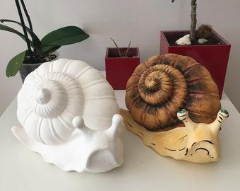 Ready to Paint, Ceramic Snail, Garden Decor, Outdoor Statues, Garden Snails
