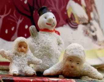 Antique German bisque Snow babies Christmas ornaments early 1900's 3 pieces