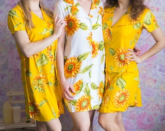Bridesmaids Button down Shirts in Sunflower Pattern - Short Sleeved Notched Collar Style