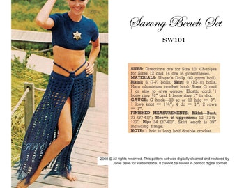 Beach Skirt Crochet Pattern, Bikini, Midriff Top, Crop Top, Sarong Skirt,  Pool Cover Up  Retro Swimsuit 70s PDF  SW101