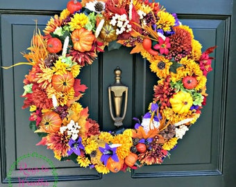 Fall Wreath, Door Wreath, Front Door Wreath, Pumpkin Wreath, Seasonal Wreath, Fall Colors Wreath, Floral Wreath, Centerpiece Wreath