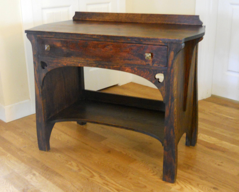 l firm no g pin desk circa model settle oak decal stickley s with prairie j