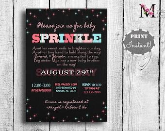 Sprinkle Baby Invitation, baby shower invitation - chalkboard, Printable, Customized