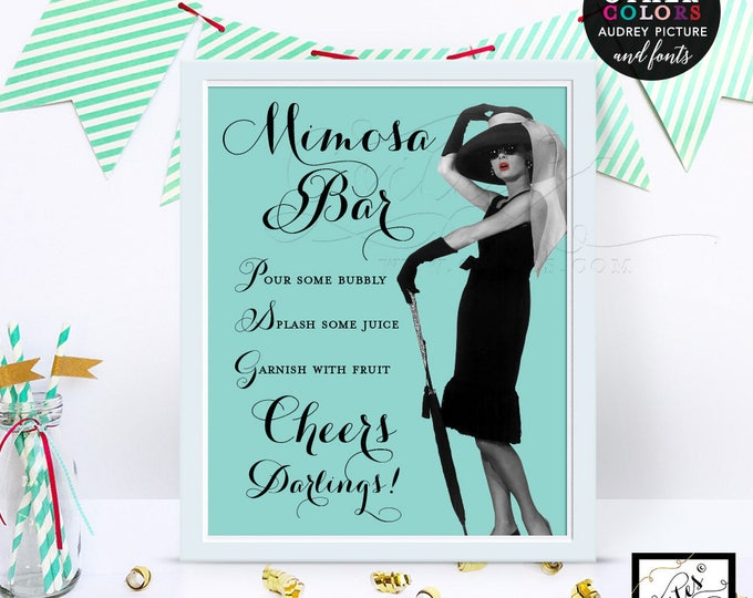 Breakfast at mimosa bar signs, party decorations, table signs, decor, cards, CUSTOMIZABLE picture, colors and fonts  8x10.