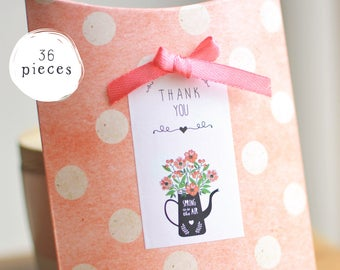 36 Floral Pretty Cute White Rectangle Thank You Stickers - Thank You Packaging Envelope Seals and Labels - Flowers Botanical Tag Sticker Set