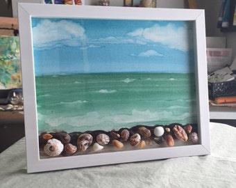 Seascape sea shell art, watercolor, sea foam, waves on the sea shore art