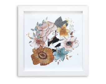 watercolor and ink illustration, fine art print