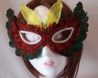 1960's Multicolor/Red/Yellow/Green/Red/White Feather Mask/Masquarade/New Year's Eve/Halloween