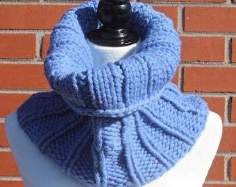 The Montrealer Cowl/Tube Scarf, 100% Super Soft Merino Wool, Blue