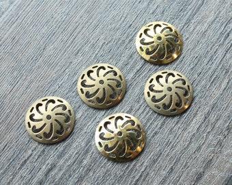 Vintage 1950s Antiqued Brass Art Deco Pinwheel Stampings // 50s Jewelry Craft Supply