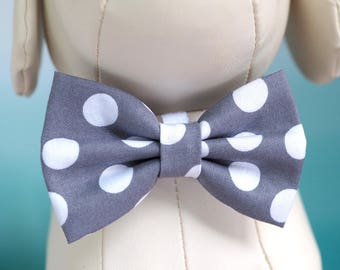 Gray Dog Bow Tie, Grey Polka Dot Neutral Wedding Bow Ties for Dogs / Cat, Family Photos Collar Bowtie Velcro fits Small to Extra Large Pet