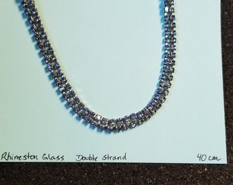 Rhinestone Glass Double Stand Necklace