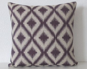 Purple pillow cover - Ikat - Fret Woven Amethyst - decorative throw pillow cover