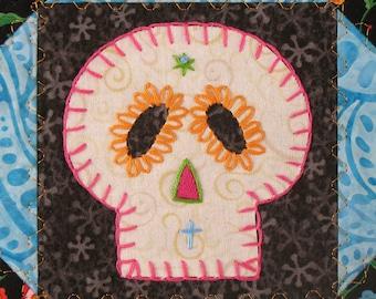 Sugar Skull Quilt, Orange and Turquoise