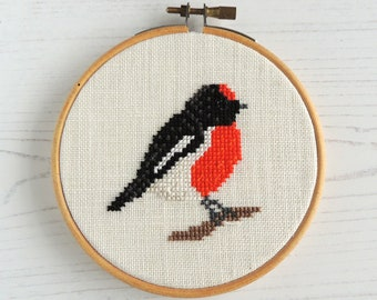 Cross stitch bird. Red-Capped Robin cross stitch bird pattern. Small cross stitch. Bird cross stitch chart. red bird cross stitch.
