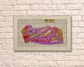 Industrial Jordan Neon White Frame Brick Wall Graffiti Style Artwork.  Nike Air Art. Steampunk & 3D Ceramic Brick Panels and Framed. UK MADE