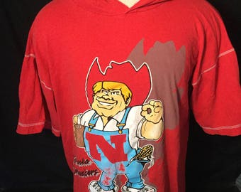 Vintage 1990's Nebraska Cornhuskers Hooded T-Shirt Awesome.