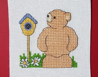 Teddy 'By his Bird House' in Cross Stitch