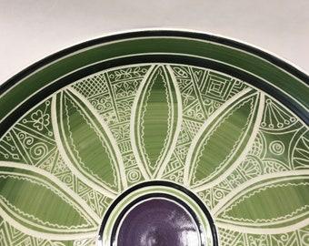 """12"""" Purple Green Porcelain Carved Serving Bowl"""