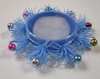 Vintage Gift Box-Hard Plastic-Beaded Accents-Made in Hong Kong-Old Stock-Blue-Super Retro-Party-Fun-Favor