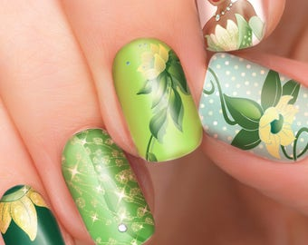 Tiana Disney nail transfers - illustrated nail art decals - Princess and the Frog - Disney nail stickers