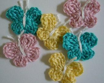 Papillons au crochet - Aqua, rose et jaune - mélange de bambou