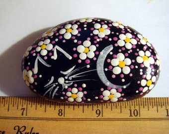 My#37 A Pink/White Flowers Sleeping Cat Stone - Hand Painted Stone Sleeping Cat Stone ... Makes a cute gift for painted stone lovers!