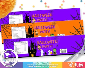 Halloween Water Bottle Label, Halloween Party Decorations, Trick or Treat, Costume, INSTANT Download