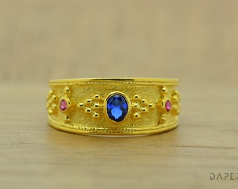 Bohemian Ring, Sapphire Rings, Sterling Silver Ring, Ruby Sapphire, Gemstone Ring, Multistone Ring, Women Ring, Gold Plated