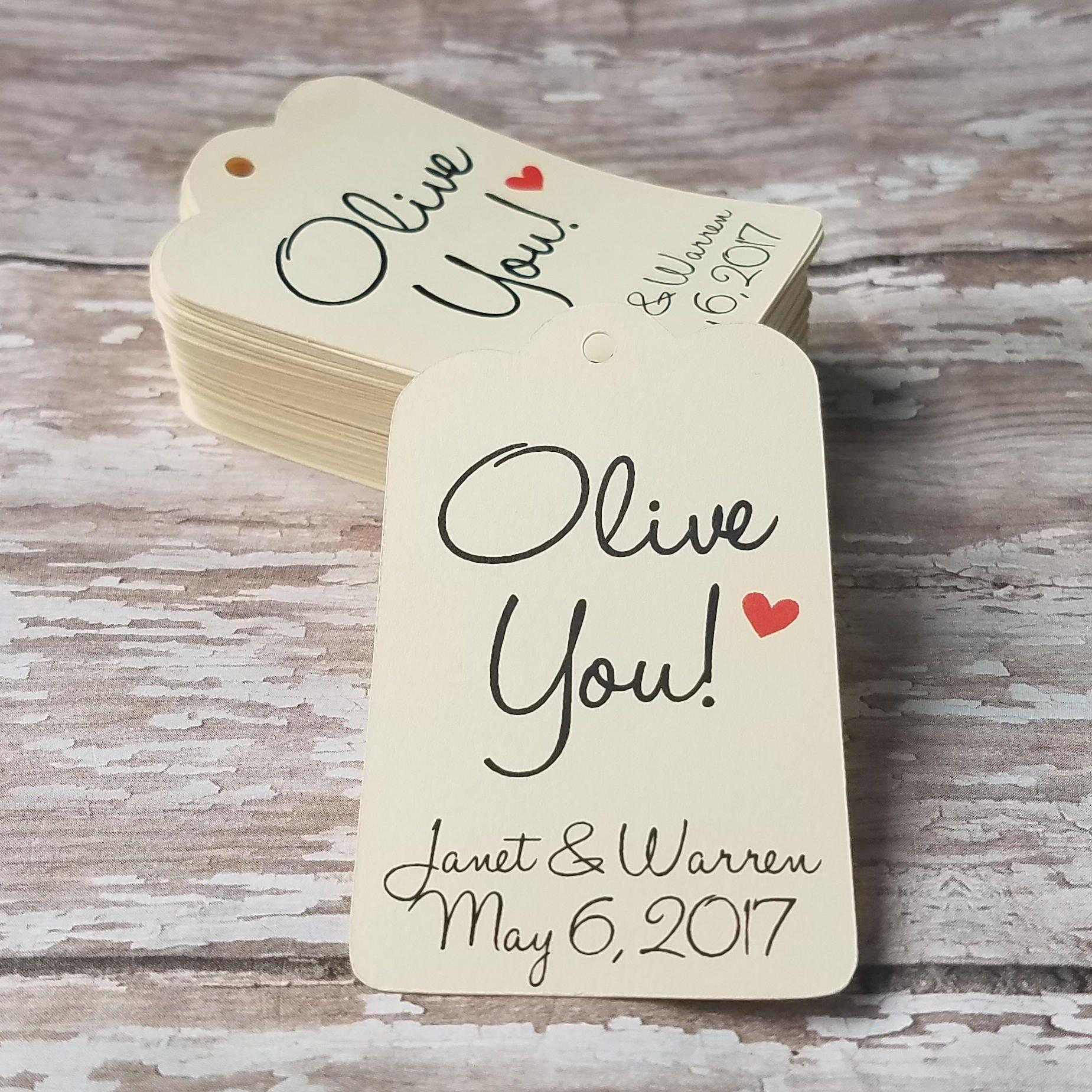 Olive You Olive Oil Favor Olive Oil Tag Wedding Shower