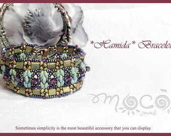 DIY Photo Tutorial Eng-ITA ,*Hamida* bracelet ,PDF Pattern 26 with tila, swarovski,superduo and seed beads,instructions,bead weaving