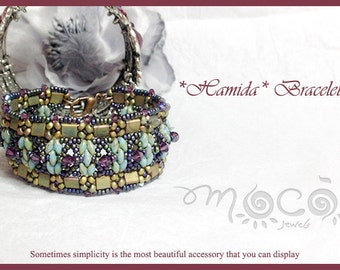 DIY Photo Tutorial Eng-ITA ,*Hamida* bracelet ,PDF Pattern 26 with tila, swarovski,superduo and seed beads,instructions,bead weaving