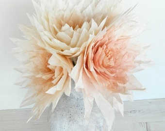 Five pieces of big paper dahlias in light pink and cream colours, tissue paper dahlias, paper flowers