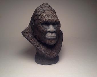 Bigfoot Sasquatch Sculpture bust realistic brown