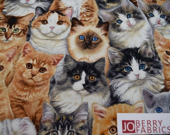 Cat Fabric, Adorable Pets by Keith Kambrolin for Elizabeth Studio, Quilt or Craft Fabric, Fabric by the Yard.