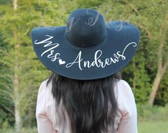 Personalized Beach Hat, Floppy Beach Hat, Monogram Hat, Custom Mrs Hat, Just Married Hat, Honeymoon Hat, Bride Gift, Bridal Shower Gift